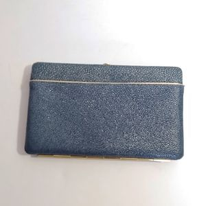 Abas blue structured wallet/clutch